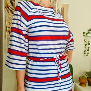 Vintage 70s striped bell sleeve tunic shirt S
